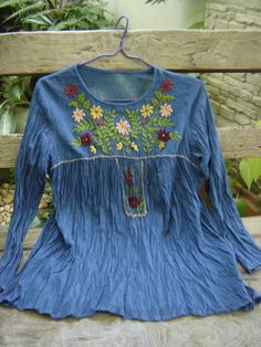 Long Sleeves Bohemian Embroidered Top in Blue by fantasyclothes, $34.00