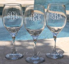 Personalized Wine Glass, Monogram, Monogram Glasses, Bridesmaid Glass, Personalized Wine Glasses, Birthday Gift, Monogram Gifts for Women  A