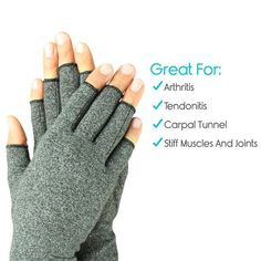 Arthritis Compression Fingerless Gloves ensure a comfortable fit and increased mobility all day long. The fingerless design facilitates holding onto things without hindering your every move. Arthritis Pain Relief, Arthritis Symptoms, Arthritis Remedies, Arthritis Diet, Arthritis Exercises, Fibromyalgia, Arthritis Gloves, Carpal Tunnel, Health