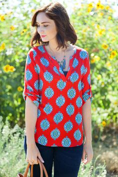 Cute! Love a great patterned blouse