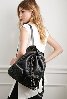 Quilted Faux Leather Backpack | Forever 21 - 1049257256
