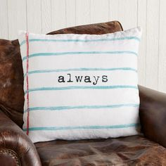 Rebecca Puig creates an artful celebration of sweet sentiment in soft linen pillow screen-printed and sewn by hand. Zipper closure. Duck feather/down insert. http://www.zocko.com/z/JFF05