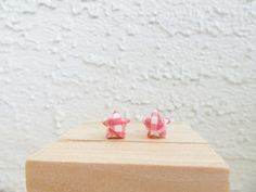 Red White Star Earrings Origami Studs by LeftysHandcrafts on Etsy