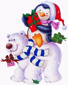 CHRISTMAS BEAR AND PENGUIN