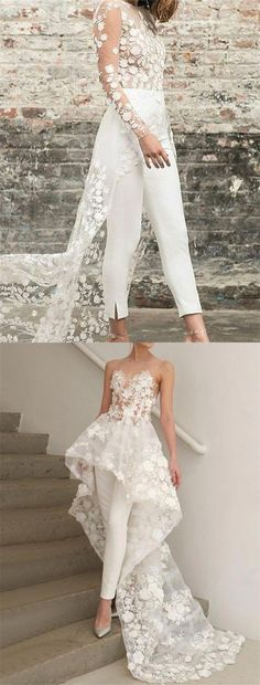 Piece Illusion Round Neck High-Low Wedding Jumpsuit with Appliques design white long wedding jumpsuit with appliques,country long sleeves wedding dresses for bride Country Wedding Dresses, Long Wedding Dresses, Bridesmaid Dresses, Prom Dresses, Bridal Dresses, Wedding Jumpsuit, Long Sleeve Wedding, Jumpsuit Dress, Dream Dress