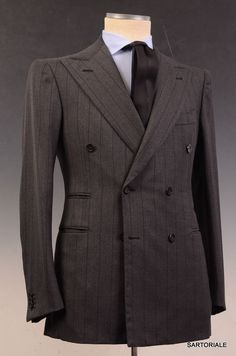 - NEW Without Tags - EU 48 / US 38 - Gray Striped - 100% Wool - Double Vented - Fully Lined - Double Breasted Construction - Working Sleeve Buttonholes - Besom Pockets - Double Pleated Pants - Made In