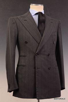 Sartoria CHIAIA Napoli Bespoke Hand Made Gray DB Striped Suit EU 48 NEW US 36 38