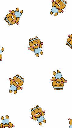 Bear Wallpaper, Kawaii Wallpaper, Pattern Wallpaper, Ryan Bear, Kakao Ryan, Wattpad Background, Cute Lockscreens, Kakao Friends, Character Wallpaper