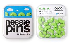 Fun! Thumb tacks in the shape of the loch ness monster.