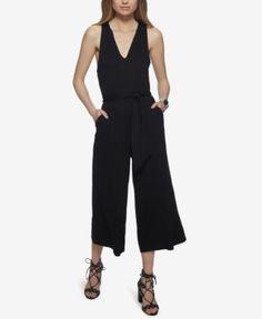 Jessica Simpson Wide-Leg Cropped Gaucho Jumpsuit - Black XL