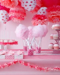 Pink cotton candy birthday party #girl #prettyinpink #pinkparty #cottoncandy #circus