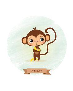Arte infantil impresión mono Ilustración de por IreneGoughPrints