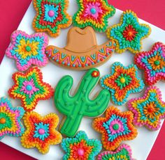 Fiesta cookies ins Fancy Cookies, Cut Out Cookies, Iced Cookies, Cute Cookies, Cupcake Cookies, Sugar Cookies, Holiday Cookies, Mexican Cookies, Mexican Desserts