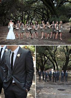 woodland wedding bridal party