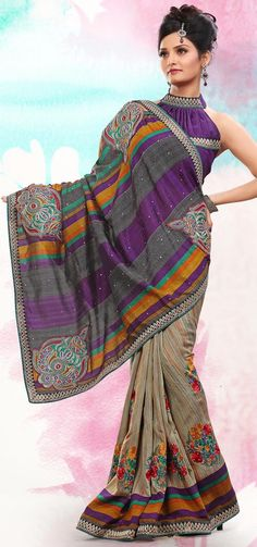 Designer Light grey mustard and purple bhagalpuri silk resham and zari embroidered saree. As shown purple blouse can be made available and also can be customized as per your pattern subject to fabric limitation.