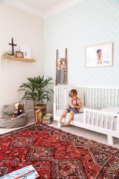 Boy nursery, modern nursery, bohemian nursery, wallpaper, blanket ladder, via Kaila Walls, www.theseblondewalls.com