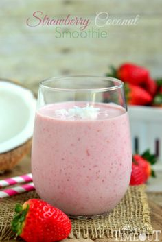 Strawberry Coconut Smoothie - This simple and sweet Strawberry Coconut Smoothie makes a delicious and satisfying breakfast or snack since it's made with Greek yogurt! #MyRecipeMagic #smoothie #snack