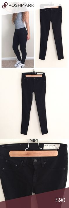"""Rag & Bone Black Plush Legging Jeans Rag & Bone Black Plush Legging Jeans! Women's size 27. In like-new condition. Midrise soft twill leggings. Faux front pockets and two back pockets. Soft cotton with a comfortable stretch. Style #W1503O163. Sold out on website. Approximate measurements given below:  Waist: 14"""" Length: 39"""" Inseam: 30"""" Rise: 8.5"""" Material: cotton/modal/polyurethane Size: 27  🔸10% off bundles of 2 or more items 🔸No Trades 🔸Reasonable offers accepted 🔸Fast Shipping  Please…"""