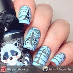 @ladyandthe_stamp's beautiful retro French stamped mani using images from her custom Fig Tree Stamps plate! www.figtreestamps.com #nailart