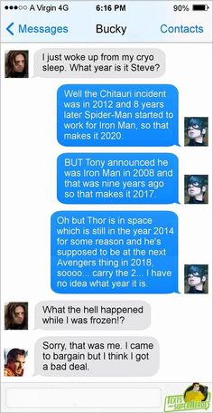 Marvel + messed up timelines. I never thought about that <<< Well now I know why the timeline is such a bitch to nail down. Damn it Strange! Funny Marvel Memes, Dc Memes, Marvel Jokes, Marvel Dc Comics, Funny Comics, Avengers Texts, Superhero Texts, Marvel Avengers, Funny Avengers