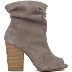 Chinese Laundry Break-Up Peep Toe Slouch Booties - Grey Suede ($100) ❤ liked on Polyvore featuring shoes, boots, ankle booties, ankle boots, heels, grey suede, high heel bootie, suede booties, peep toe bootie and chunky heel boots
