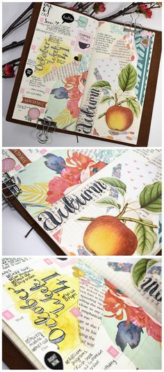 FREE Daily Scrapbooking and Art Journal Prompts - October 2017 - CreativePassport.org - Ideas and inspiration for keeping a travel journal, scrapbook, or art journal. Layout in a midori travelers notebook