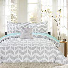Herringbone Print 4 Piece Reversible Comforter Set