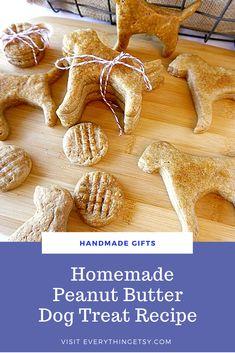 Homemade Dog Treat Recipe–Peanut Butter Cookies - EverythingEtsy.com Homemade Peanut Butter Dog Treats Recipe, Homemade Dog Treats, Dog Treat Recipes, Peanut Butter Cookies, Pet Boutique, Your Pet, Favorite Recipes, Handmade Gifts, Dog Stuff