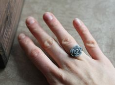 PinItSALE  Bright Flower Rings  Navy Blue Red by DistinctlyIvy, $4.98