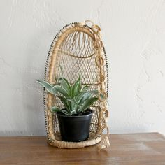 Hanging Planter Rattan Plant Holder by WilloughbyRdVintage on Etsy
