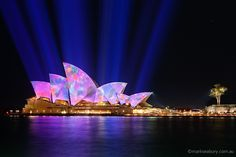 Our city - Sydney - Opera House. Lighting the sails of the Sydney Opera House in the annual 'Vivid Sydney', a festival of light, music and ideas. Places To Travel, Places To Go, Holiday Photography, Amazing Photography, 10th Wedding Anniversary, Australia Travel, Sydney Australia, Next Holiday, Festival Lights