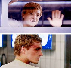 He's so different. In the first Hunger Games, he's full of hope and wonder. But then the Games harden him, until he's unrecognizable.