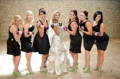 Pin for Later: The Dream Wedding For the Couple That Eats, Sleeps, and Breathes Fitness  Real bridesmaids lift! Brittany and Derrick got the bridal party in the spirit of the celebration with fun and sweet photos.