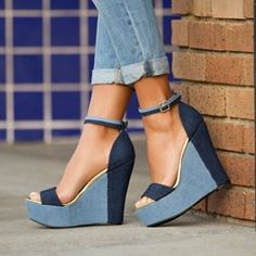 awesome Shoespie Open Toe Metal Buckles Wedge Heels