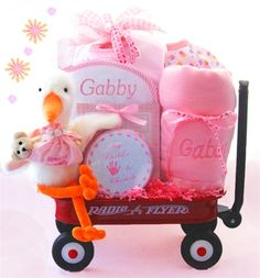 Stork Baby Girl Wagon - Radio Flyer Wagon, 30 x 50 Baby Blanket, Oversized Bib, Burpcloth, Handprint / Footprint Keepsake Tin, Stork Plush, Cotton Onesie, Long Sleeved Romper