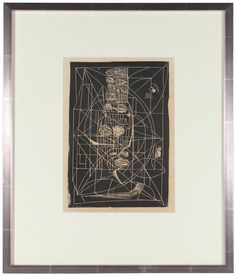 "14859- Santos Rene Irizarry, 1964, Linoblock Print on Paper, 17""x22"" Framed #abstract #monochrome"