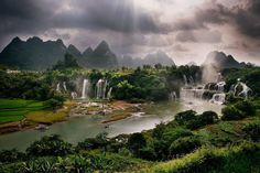 Detian or Ban Gioc Falls, straddling the China-Vietnam border | Chongzuo, China (East Asia) and Trung Khanh, Vietnam (Southeast Asia)
