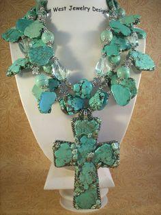 Christian Cowgirl Necklace Set Chunky Aqua by Outwestjewelry, Cross Jewelry, I Love Jewelry, Metal Jewelry, Beaded Jewelry, Handmade Jewelry, Bullet Jewelry, Jewlery, Beaded Necklaces, Cross Necklaces