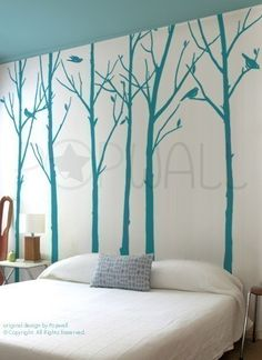 Vinyl Wall Sticker Tree Wall Decal Tree Decal Art -  Leafy Winter Trees with birds - 6 trees - 037