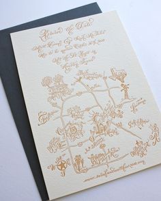 Letterpress wedding save the date map