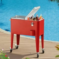 ** Red beverage cart