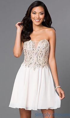 Terani Short Strapless Homecoming Dress H0199 at SimplyDresses.com