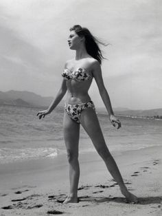 Looking back at Cannes photos - this one of Brigitte Bardot in the 50s. beginning of the bikini!