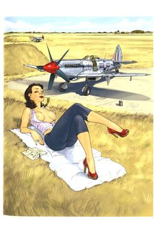 "Romain Hugault - Stripalbums ""Pin-Up Wings 1 & Pinup Art, Deco Aviation, Aviation Art, Airplane Art, Retro Pin Up, Pin Up Photography, Nose Art, Amazing Pics, Military Art"