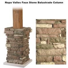 Wood Top  Faux Stone Columns | Stone Balustrades: Majesty Columns
