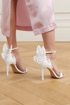 Heel measures approximately 4 inches White leather (Calf) and satin Buckle-fastening ankle strap Imported Best Bridal Shoes, Bridal Heels, Wedding Heels, Sophia Webster Chiara, Sophia Webster Shoes, Butterfly Heels, Beautiful High Heels, Silver Shoes, Silver Bridal Shoes