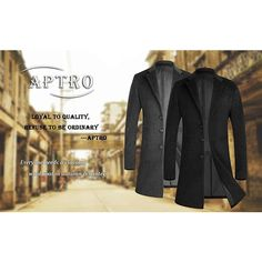APTRO Men's Trench Coat Wool Pea Coat Long Gentleman Business Winter... ❤ liked on Polyvore featuring men's fashion, men's clothing, men's outerwear, men's coats, mens wool coat, mens wool pea coat, mens pea coat jacket, mens pea coat and mens coats