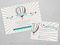 Vintage Hot Air Balloon Wedding Invitation Set by PapierSanctum, $2.50