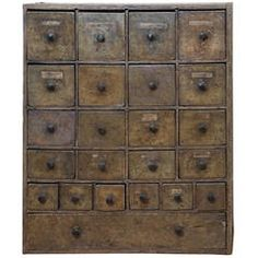 Original Painted 23-Drawer Apothecary
