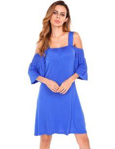 Blue Women Casual Flare Sleeve Off Shoulder Elastic Loose Solid Dress